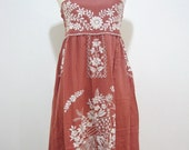 Embroidered Mexican Sundress Cotton Strapless Dress With Lining, Beach Dress, Boho Dress