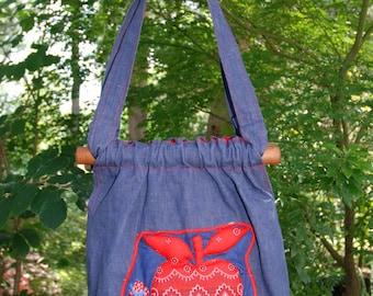 """Vintage 70's """"Holly Hobbie"""" Denim Handbag"""
