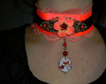 gothic,choker,victorian,burlesque,necklace, orange with fimo flower