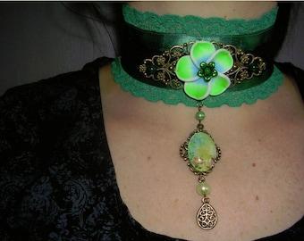 gothic ,choker,victorian,burlesque,necklace,green flower