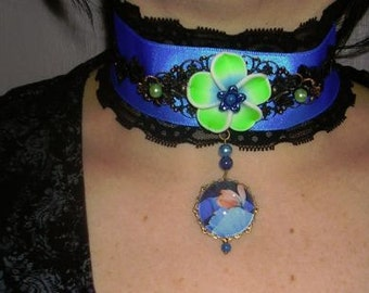 gothic,choker,victorian,burlesque,necklace, blue with fimo flower