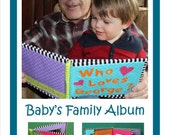 Soft book photo album pdf pattern, family grandparents fabric photo album pattern