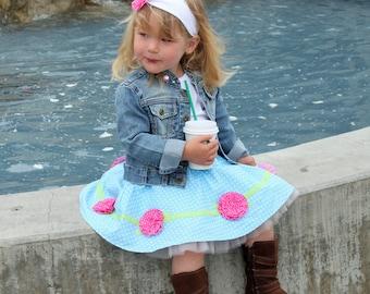 Toddler girls circle skirt pdf pattern, ruffled rosette tutorial, elastic waist skirt, RING AROUND the ROSEY