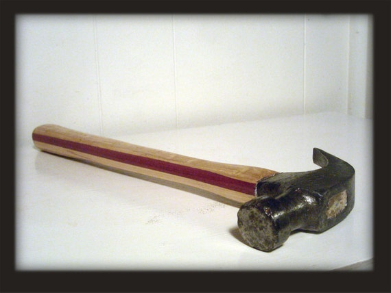 Upcycled Tool - Reclaimed Hammer Head with Recycled White Oak, Maple & Purple Heart Handmade Handle