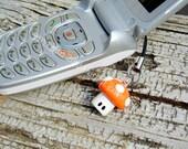 Orange Gamer Mushroom Cell Phone Charm