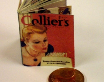 1306# Colliers - Womes journal from the thirties - doll house miniature in scale 1/12