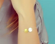 "Double disc bracelet, silver disc bracelet, circle bracelet, sterling silver and gold vermeil, bridal bracelet, bridesmaid, ""Maera"" Bracelet"