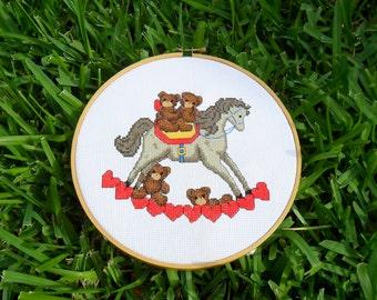 Hoop Art rocking horse Teddies completed cross stitch