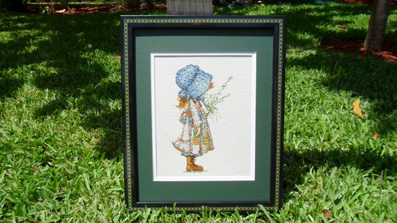 Vintage Holly Hobbie counted cross stitch framed home decor