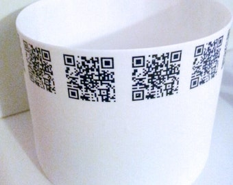 White porcelain vase. Stoneware English fine bone china round vessel & QR code ceramic transfer. Very thin and translucent.