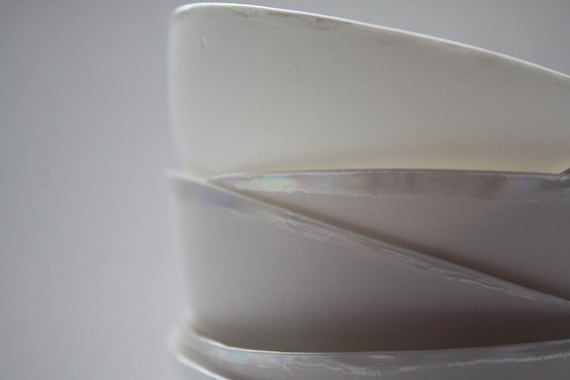 Stoneware English fine bone china vessel with mother of pearl luster - iridescent