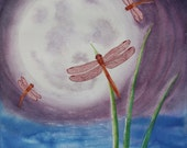 "ORIGINAL Watercolor Painting - ""Red Dragonfly Dance"" - Full Moon Serene Purple Art"