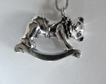 Sterling Silver Rocking Teddy Bear Necklace