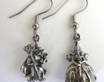 Sterling Silver Wizard of Oz Wicked Witch and Glinda Earrings