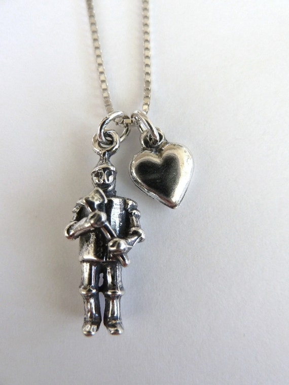 Tinman-Necklace-Tin Woodsman Necklace-Wizard of Oz-Oz Jewelry-Tinman with Heart Pendant-Whimsical Jewelry-Sterling Silver