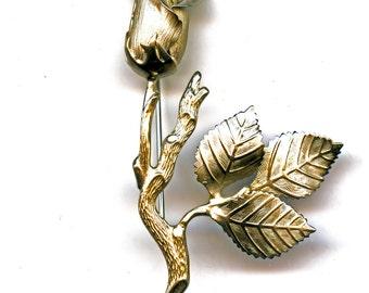 Rose Silvertone Flower pin