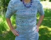 ON SALE Vintage Short-Sleeved Sweater // Wool Angora Mohair