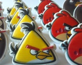 Angry Birds cupcake rings picks or cake toppers, great for your next birthday or gaming party, use as favors for school classroom cupcakes