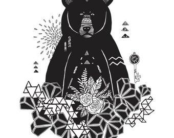 Black and White Geometric Bear Illustration - Archival Art Print