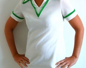 Vintage Dress - 1970s White Tennis Dress with Green Accents