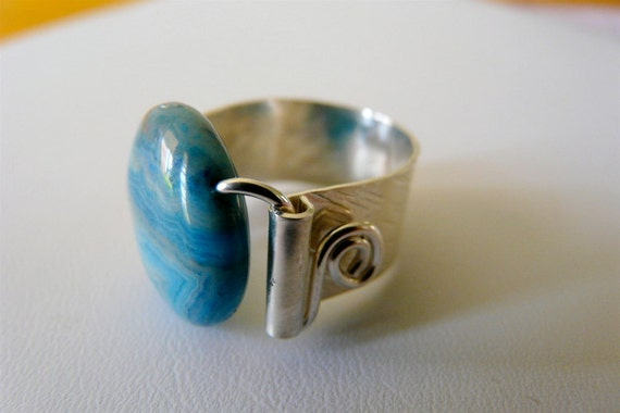 Blue Agate Statement Ring Stone Ring Original Ring Sterling Ring Band Ring Summer Ring For Her