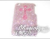 Personalized Rhinestone Bling Cute Purple and Pink Cross Back Case for iPhone 5 5S 5C 6 6 Plus Handmade with 100% Swarovski Crystal Elements