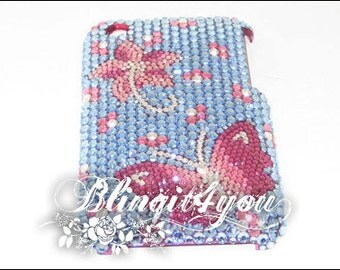 Personalized Rhinestone Bling Diamond Blue Butterfly Flower Back Case Cover 4 iPhone 5 6 7  Plus Handmade w/ 100% Swarovski Crystal Elements