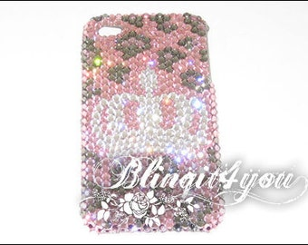Rhinestone Handmade Bling Pink Leopard Princess Crown Tiara Case Cover for iPhone 5 5S 5C 6 6 Plus Made with 100% Swarovski Crystal Elements