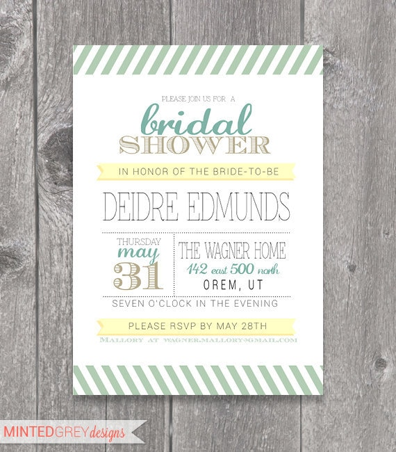Items similar to printable mint green gold yellow for Yellow bridal shower invitations