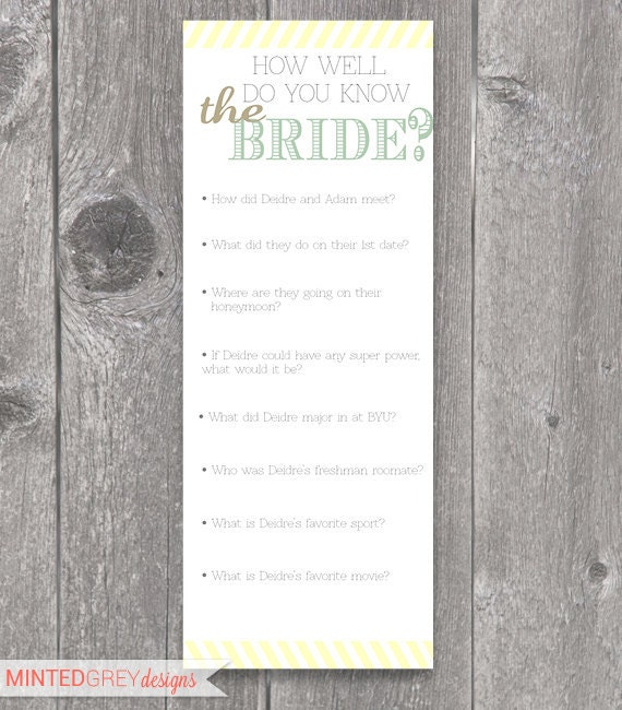 Printable Mint Green, Gold & Yellow Bridal Shower Game