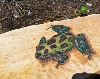 Original ink drawing of a poison dart frog on reclaimed oak