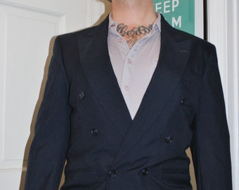 Mod Suit, Double Breast 2 Piece Suit, Navy Blue