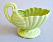 Haeger Celery Green Vintage Shell Handled Pedestal Planter