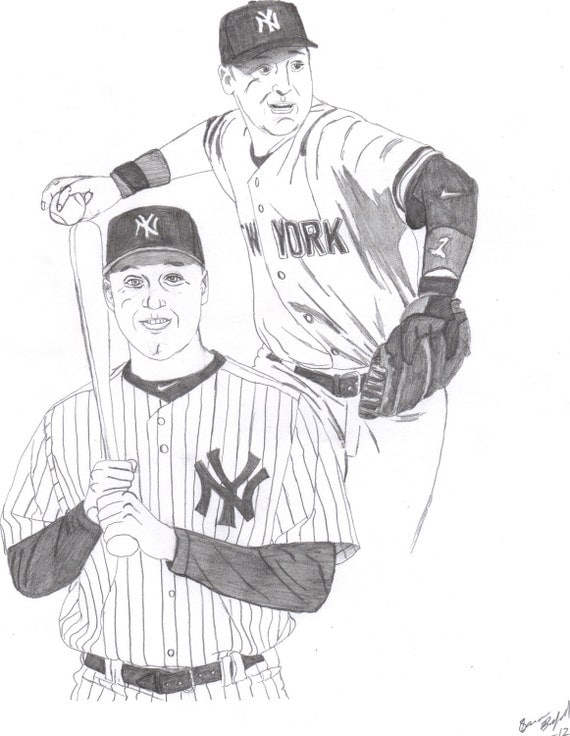 Derek jeter original drawing sketch new york yankees by for Ny yankees coloring pages