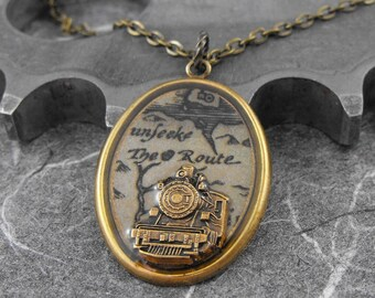 Antiqued Brass Train Necklace - The Train's Route to Infinity by COGnitive Creations
