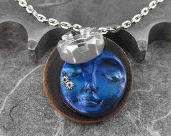 Steampunk Calm Blue Face Woman Mixed Media Necklace - The Tiny Royal Time Goddess by COGnitive Creations