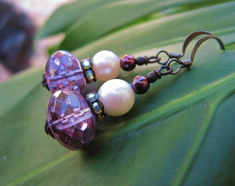 Purple and Pearl Earrings - Iridescent Violet Czech Glass Beads, Vintage Pearls, AB Rhinestone Rondelles w Black French Ear Wires