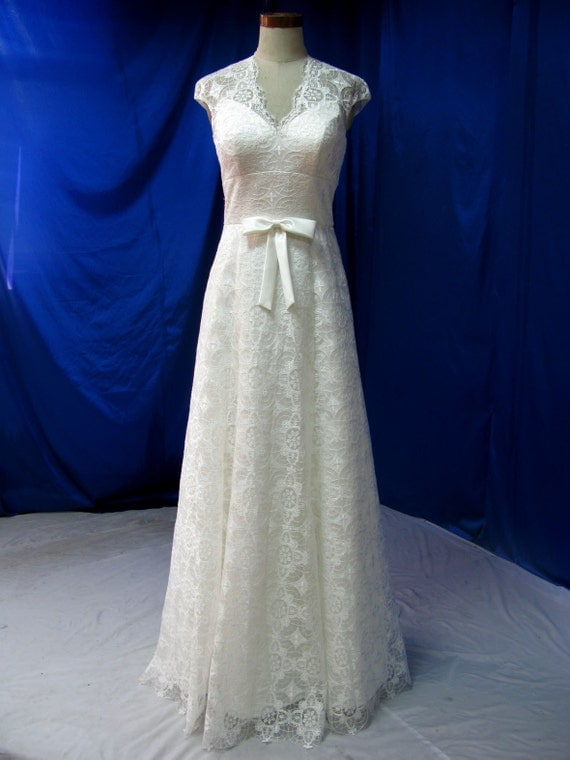 Country Wedding Dress Vintage Inspired with Cap Sleeves Illusion back and Bow Custom Made in your Measurements