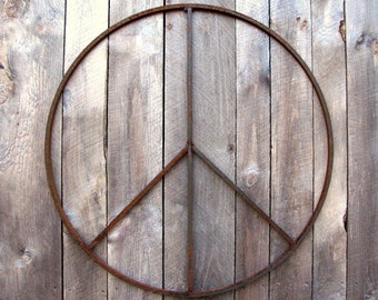 15 inch Peace Sign Wreath Rustic Metal Wall Art