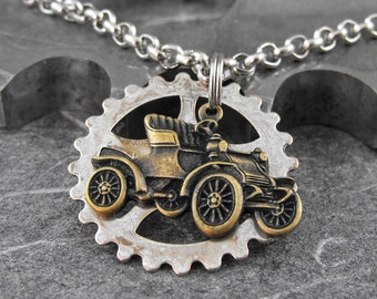 Steampunk Antique Car Necklace - Driving Down Memory Lane by COGnitive Creations