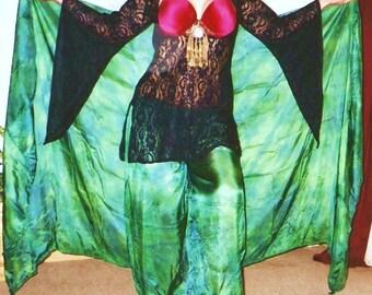 stretch lycra lace GHAWAZEE coat dress tribal fusion belly dance SCA Renaissance gypsy costume sm-XL O,U or V neckline