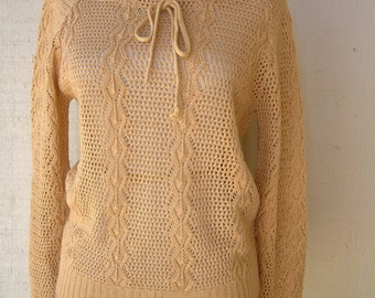 Vintage 1970s Sweater Top Camel Blouse Womens Small Medium Tan Knit Drawstring Boat Neck Summer Top Light Sweater Top Open Neck Drawstring