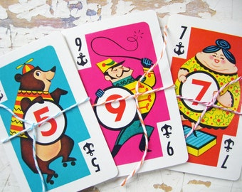 Vintage CIRCUS Playing Cards-  Crazy Eights, Vintage Playing Cards- A Sweet Set of 11 Cards