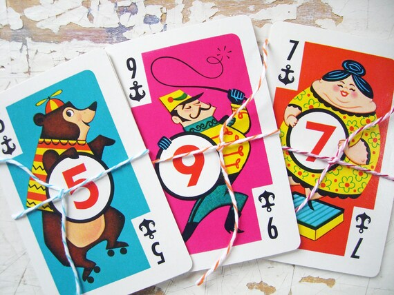 Vintage CIRCUS Performers Crazy Eights, Vintage Playing Cards- A Sweet Set of 11 Cards