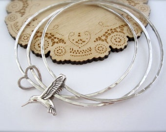 Hummingbird and heart sterling silver bracelets - layering bangles, hummingbird bracelet, sterling silver bracelets, mother daughter jewelry