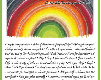Eat the Edible Rainbow - Edible Rainbow Poster - Inspirational  12x18 recycled - Motivational Healing Words Art Print - Whole Food Health
