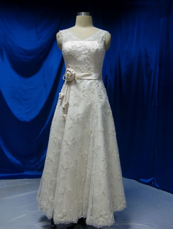 Vintage Inspired Wedding Dress with Lace Custom Made to your Measurements