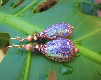 In the Mood Earrings - Shop Favorites w Color-Changing Mood Beads, Czech Glass Crystals, Copper Accents & Copper French Ear Wires