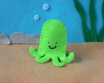 Lime Green Octopus Finger Puppet - Octopus Puppet - Felt Octopus Puppet - Felt Finger Puppet Octopus - Felt Octopus