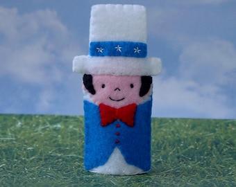 Yankee Doodle Dandy Finger Puppet - Patriotic Puppet - Fourth of July 4th Finger Puppet - USA Puppet